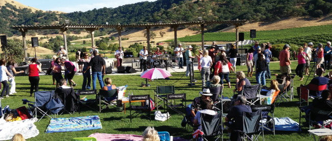 Outdoor music event at Clos La Chance Winery