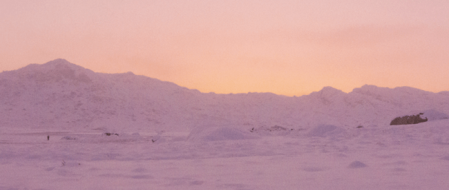 The pink hues of sunset illuminate the snow of the Emigrant Wilderness