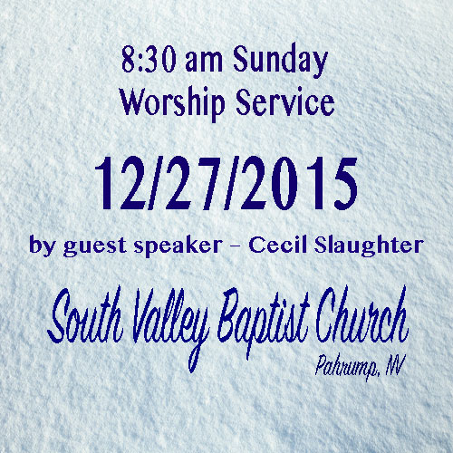 Dec 27 2015 8:30am Sermon