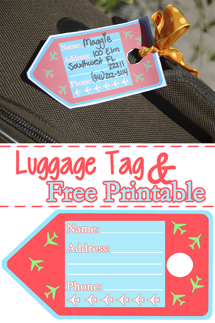 photograph regarding Free Printable Luggage Tags titled Baggage Tags Absolutely free Printable - Mother Explores Southwest Florida