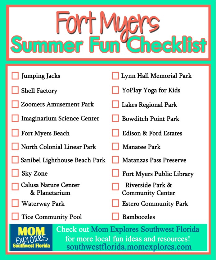Fort Myers Summer Fun Checklist. If you are looking for something fun to do with the kids in the Fort Myers area.