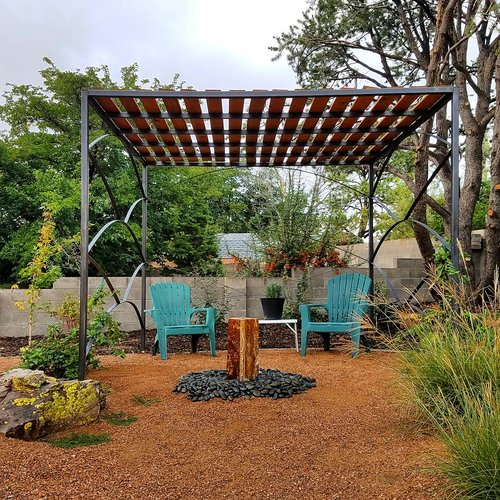 Landscape design Albuquerque xeriscape water feature pergola native plants