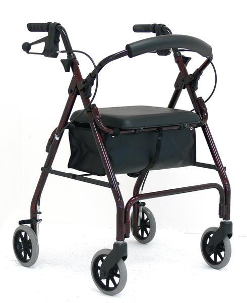 """Redgum Aluminium Four Wheel Walker With Seat 6"""" Red"""