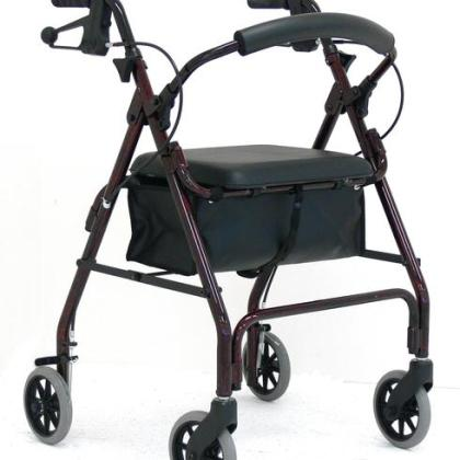 "Redgum Aluminium Four Wheel Walker With Seat 6"" Red"