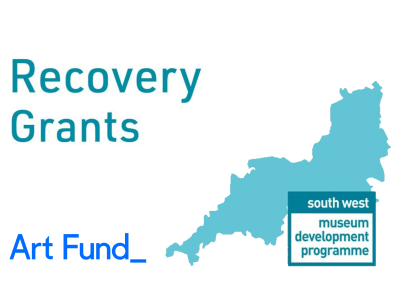 Map of South West with Art Fund and South West Museum Development logo and the text 'Recovery Grants'