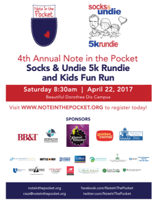Note in the Pocket 4th Annual Socks & Undie Run @ Dorothea Dix Campus - Gymnasium on Dix Hill | Raleigh | North Carolina | United States