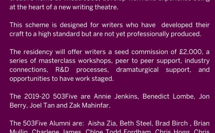 Detail's of Theatre503's 503Five writer mentoring scheme 2021-22