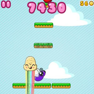 Tilt your screen to collect coins and apples, dodge bees, and land on the platforms.<br>Rating: A<br>Courtesy of Retro Dreamer