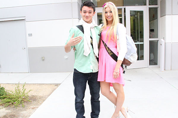 Seniors Sebastian Atienza and Kennedy Rosek dressed as Ken and Barbie for Celebrity Look-A-Like day.  Photo Credit: Hailey Basner