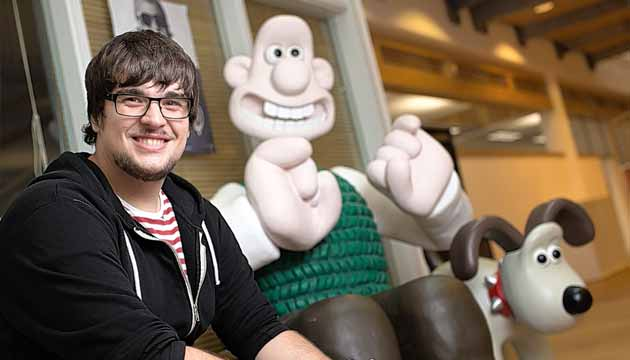 Keith posing with Wallace and Gromit