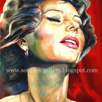 "Sophia Loren ""Matrimonio All'Italiana"" 1964 (Vittorio De Sica) - original painting-portrait, canvas"