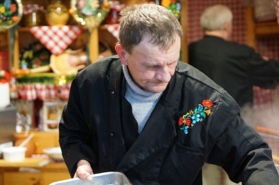 dining at hungarian christmas fair market