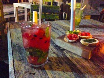 A melon mojito at Batey's restaurant in Tulum's town.