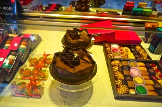 A chocolate display at Wittamer in the Sablon.