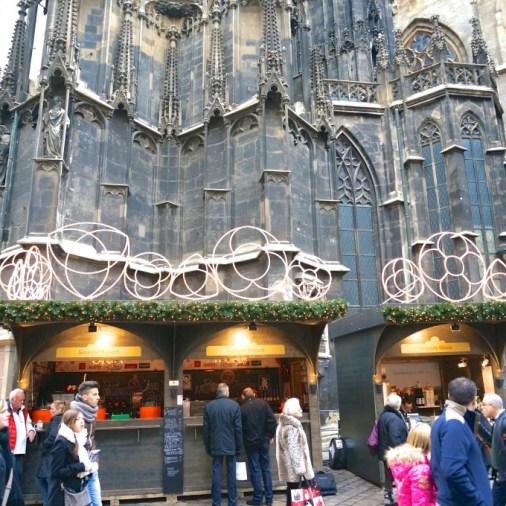 Stephansplatz Christmas Market Vienna Austria stall vendor church overview