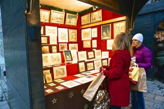 Stephansplatz Christmas Market Vienna Austria stall vendor craft print drawings