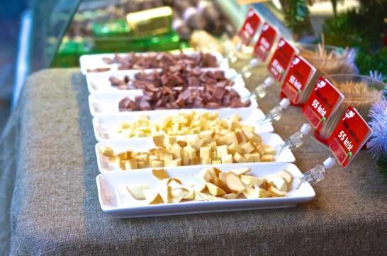 Stockholm Sweden Christmas Market Kungstradgården stall cheese meat