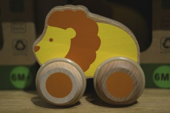 Cute wooden lion on wheels, a great kid's souvenir from the Vasa Museum gift shop.