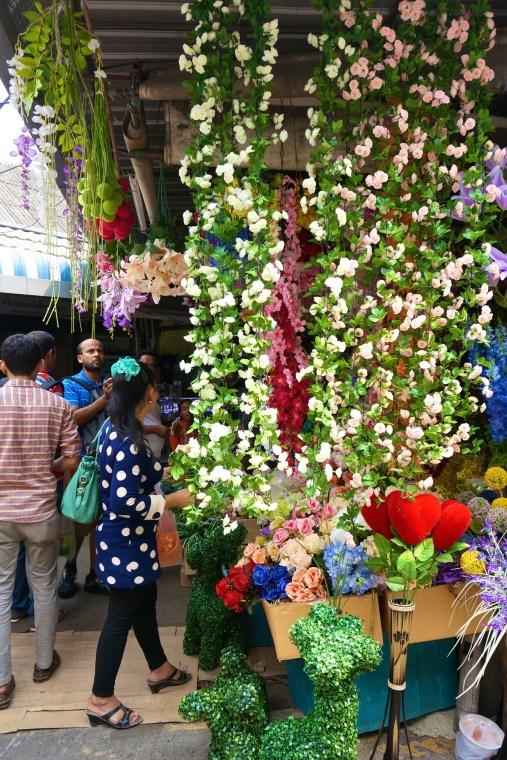 Silk flower garlands. JJ Market/Chatuchak, Bangkok.