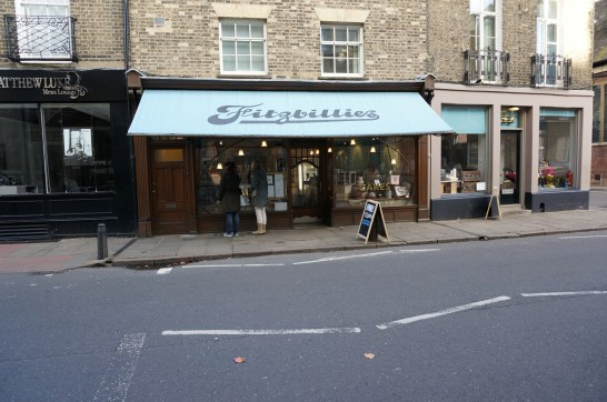 The unmissable shopfront of Fitzbillies
