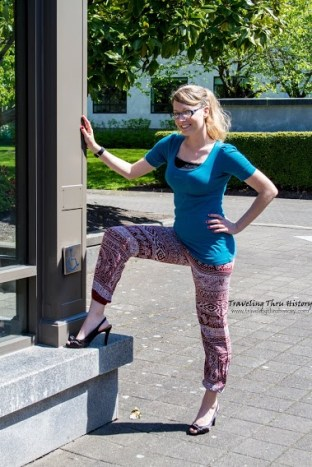 Erin demonstrates the flexibility of the elephant pants with this power shot.