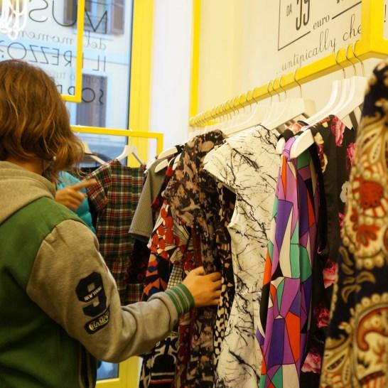 Bargain-priced dress shop in Milan.