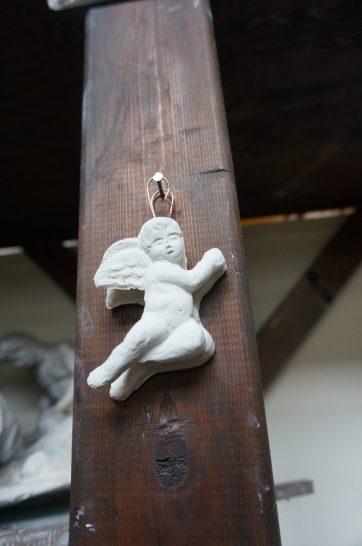 Florence sculpture studio: cherub christmas ornanment.
