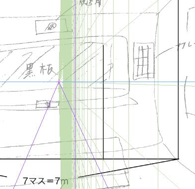 パースを使って教室を描く・一点透視図法2