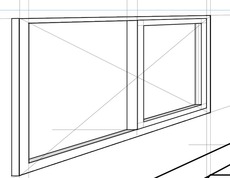 パースを使って教室を描く・一点透視図法68