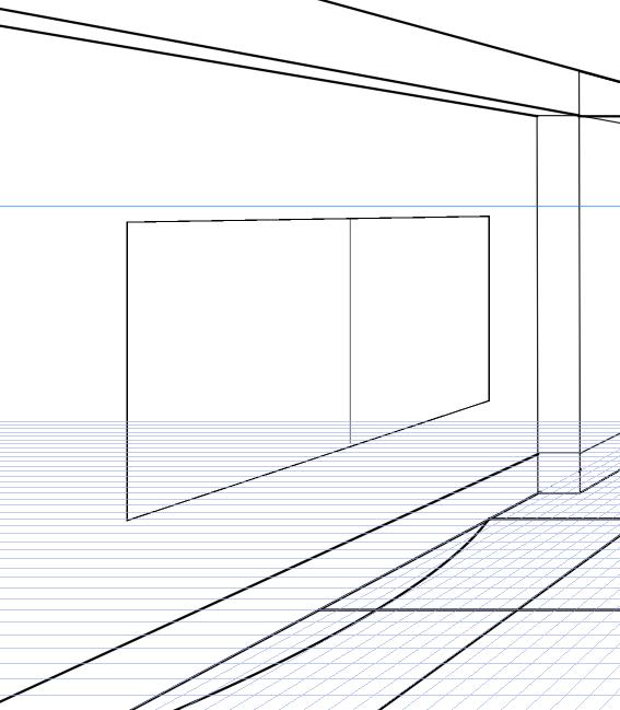 パースを使って教室を描く・一点透視図法64