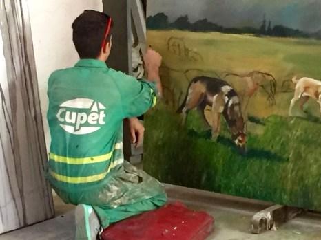 Watching an artist at work was a highlight.