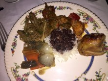 roasted vegetables, rice, chicken