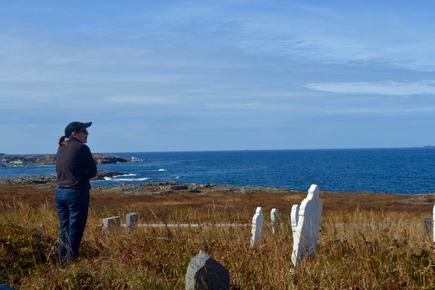 Souzz paying her respects in a cemetery overlooking the North Atlantic