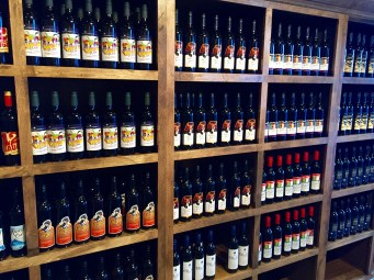 Shelves and shelves of berry wine