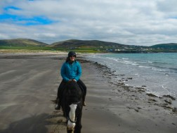 Souzz with her new friend Hugo on the beach in Ventry