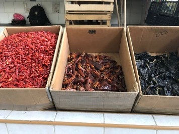 At the local market, the peppers used for mole