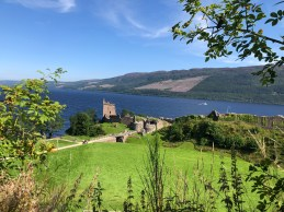 Urquhart Castle with Loch Ness in background
