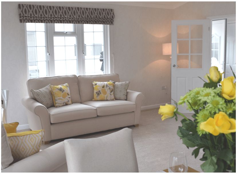 The Berkswell park home interior picture of lounge with luxury furnishings and flowers
