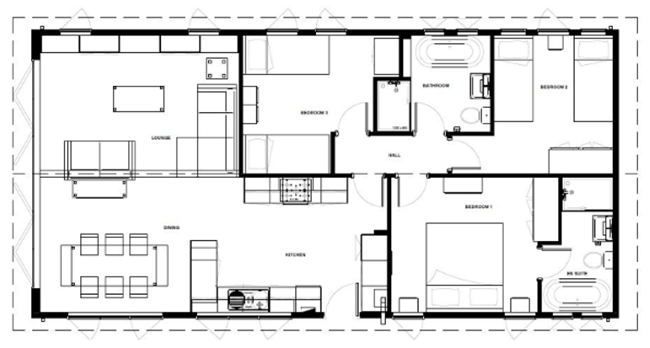 The Bay - Luxury holiday home with a view - example floorplan for three bedrooms