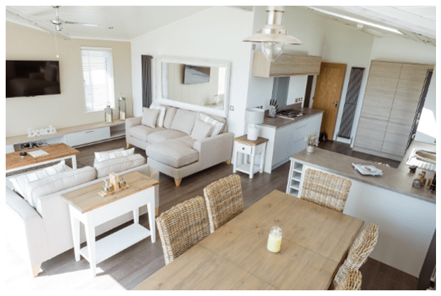The Bay - Luxury holiday home with a view - open plan living park home and holiday lodge
