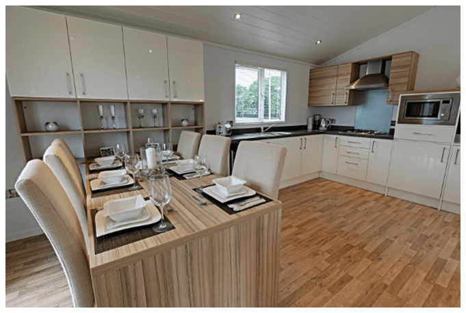 The Horizon- natural holiday lodge retreat - open plan kitchen, diner and lounge