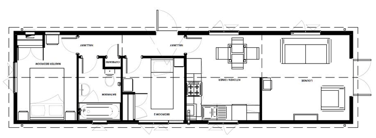 The millison - single unit accomodation park home example floor plan