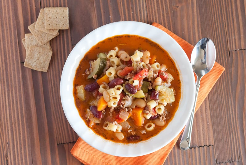 This Instant Pot Pasta Fagioli Recipe is packed full of meat, pasta, vegetables, and beans for a healthy and hearty soup.