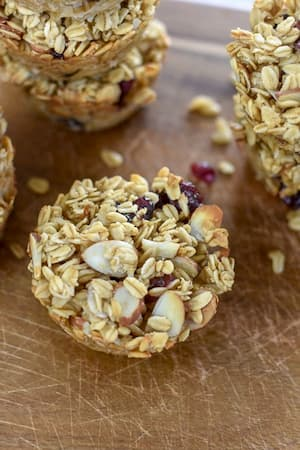 Oatmeal muffins with oats and cranberries