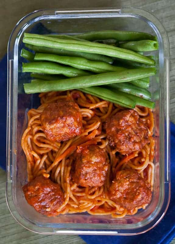 This Healthier Instant Pot Spaghetti & Meatballs Recipe is an easy meal prep recipe that uses frozen meatballs and whole wheat pasta for a healthy spin of this dinner classic.