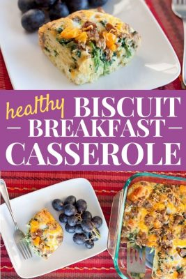 Healthy biscuit breakfast casserole slice on a plate with grapes