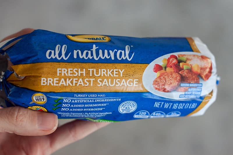 Package of all natural Butterball fresh turkey breakfast sausage