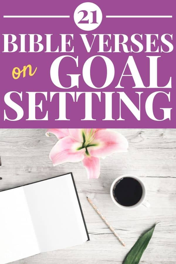 Bible Verses on Goal Setting desk with pink flower, coffee, pencil, and open notebook