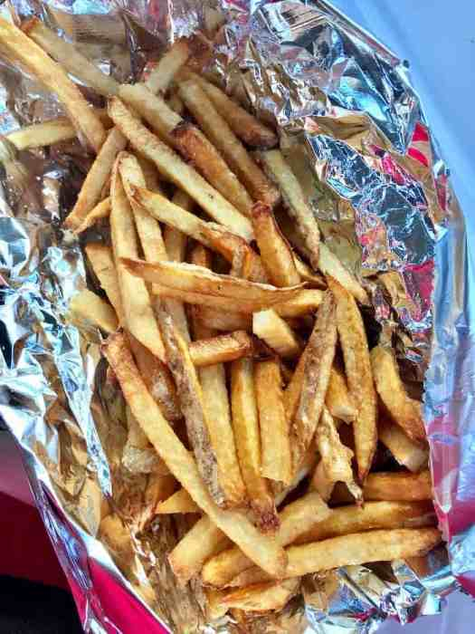 container full of french fries