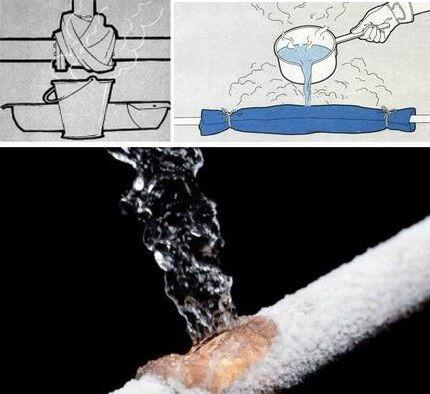 お湯のジェットの下で融解システム